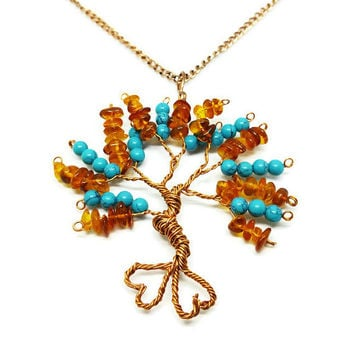 Baltic Amber and Turquoise Copper Floating Tree of Life Pendant Necklace, Metaphysical Jewelry, Chakra Necklace, December Birthstone