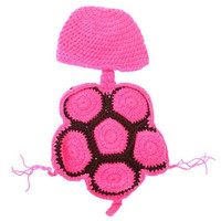 Tinksky Cute Tortoise Style Baby Infant Newborn Handmade Crochet Beanie Hat Clothes Baby Photograph Props (Rosy)