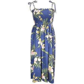 bamboo orchid blue hawaiian moonkiss short dress