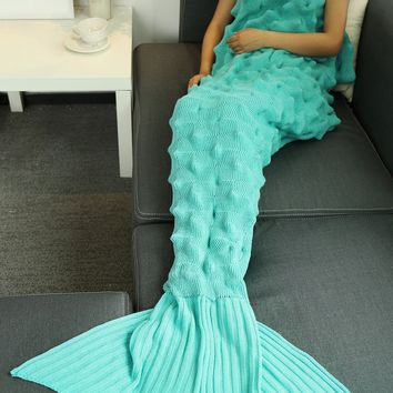 Handmade  Crochet Throw Bed Sofa Mermaid Blanket