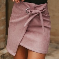 High waist suede skirts womens short sexy mini skirt female Asymmetrical casual skirt pink jupe femme