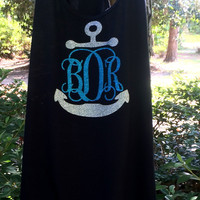 Monogrammed Swimsuit Cover up, Beach Cover up Glitter Monogram Tank Dress, Bridesmaid Gifts, Monogrammed Gifts for Women, Teens, Vacation