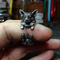 100% Handmade Old Silver Cute Dog Ring Adjustment Best Gift + Beautiful Gift Box Ring-100