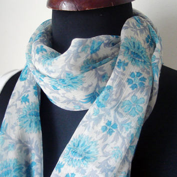 Turquoise scarf, Floral Scarf, Women Flowers scarf, Spring Shawl, Fashion Scarf for Women, Floral Print Scarf, Women Gift Idea, Mom Gifts