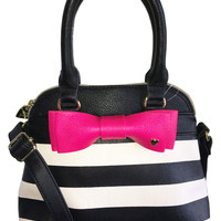 Betsey Johnson BR22290 Mini Dome Black & Bone Stripe Crossbody Satchel