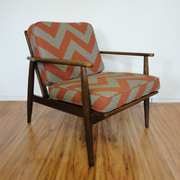 Mid Century Chevron Danish Lounge Chair Walnut