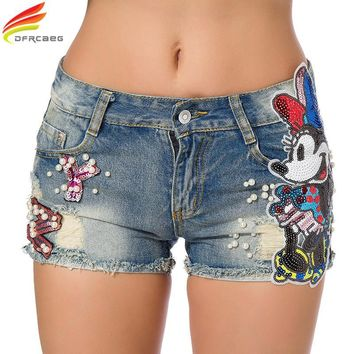 Summer 2018 Women Short Jeans Casual Embroidered Flare Denim Shorts Fashion High Waisted Jeans Shorts Sexy Sequin Cartoon Shorts
