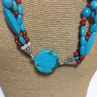 Jewelry: Necklace Turquoise multi-strand, sterling silver
