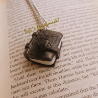Polymer clay antique book charm necklace plus free gift