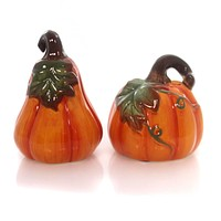 Tabletop HARVEST GARDEN SALT & PEPPER Ceramic Pumpkin Shakers 43879