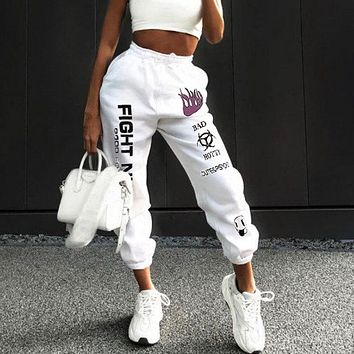 Women High Waist Strappy Letter Graffiti Print Sweatpants Leisure Pants Trousers