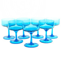 Turquoise Blown Glass Goblets (Set of 7) - Gorgeous Blue Stemware, Champagne Coupe Size - Vintage Home Bar Decor or Wedding Serving