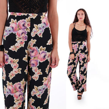 90s Betsey Johnson Floral Trouser Pants Pink and Black Boho Chic Hipster Vintage Clothing Womens Size XS Small