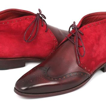 Paul Parkman Men's Chukka Boots Bordeaux Suede & Leather (ID#CK51-BRD)