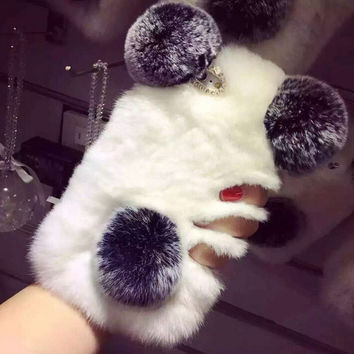 Handmade Rabbit Fur Warm Case for iPhone 5s 6 6s Plus Best Gift 13