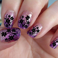 38 Black CHERRY BLOSSOMS / DAISIES Nail Art Decals Professional Results Waterslide - not Vinyl or Stickers