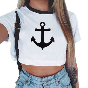 Fashion Casual Pattern Print Round Neck Short Sleeve T-shirt Crop Tops