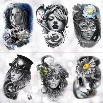 Lace Feather Mask Girl Rose Skull Waterproof Temporary Tattoo 14.8x21cm