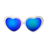 Reflective Mirror Lens Womens Large Heart Shaped Sunglasses W2090
