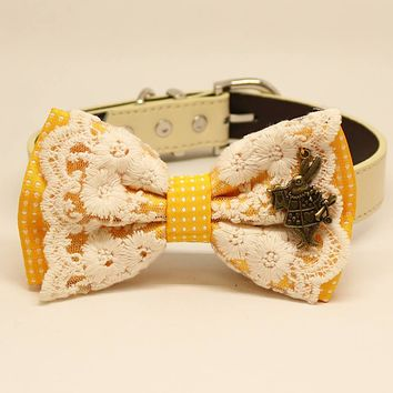 Yellow Polka Dots Lace dog bow tie collar, Pet wedding, White Rabbit Alice in Wonderland
