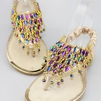 Multicolor Beads Mesh Flat Sandals Gold SVCV061605 from topsales