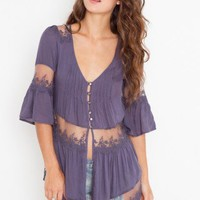 Ashbury Lace Top - Slate Blue - NASTY GAL