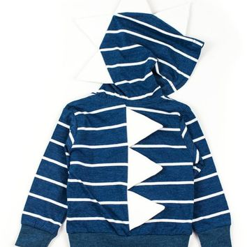 Littlest Prince Couture Navy & White Stripe Dino Hoodie - Infant & Boys