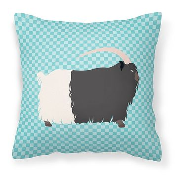 Welsh Black-Necked Goat Blue Check Fabric Decorative Pillow BB8061PW1414