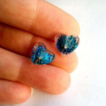 Blue clear resin stud earrings with real dandelion fluff and glitter Heart shape post earrings Real flower studs Resin jewelry