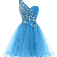Homecoming Dress,One Shoulder Blue Sequins Chiffon Short Prom Dresses