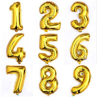 1Pcs 16inch Gold 0-9 Digital Figure Number Balloon Aluminum Foil Helium Balloons Birthday Wedding Party Decoration Celebration