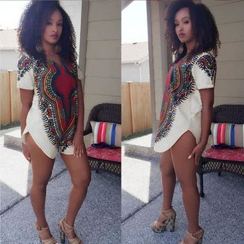 Traditional Tribal African Dashiki Party  Short sleeve mini Dress
