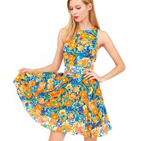 Floral Print Sleeveless Racerback Mini Dress