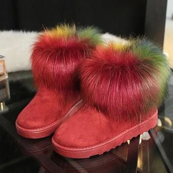 2016 brand new women snow boots colorful FUR ankle women boots winter fashion platfrom ladies suede shoes ALF110