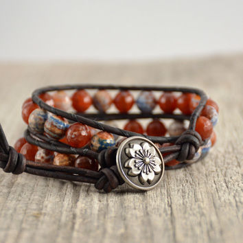 Red and blue bead bracelet. Chunky beaded leather wrap