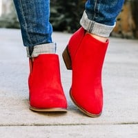 Cherry Red Low Cut Ankle Boot