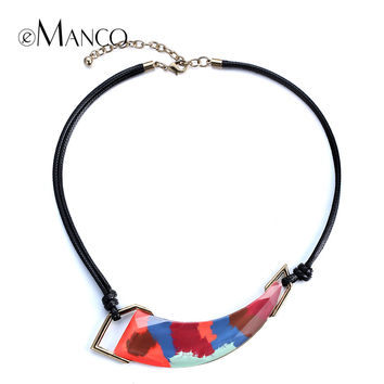 Geometric resin painted necklace black rope chokers necklaces 2015 new winter women trendy enamel statement necklace eManco