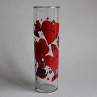 Love Bug Hearts Tall Vintage Highball Bar Cocktail Mixed Drink Glass, Lady Bug Beetle Valentine Flower Vase