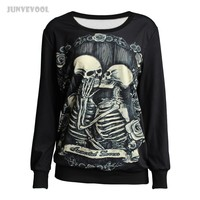 Woman Hoodies Women's Skull Couple Printed Skeleton Casual Hoodie Tops Long Sleeve Sweatshirt Pullover Jumper Tops Bone Couple