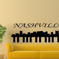 Wall Decor Vinyl Sticker Room Decal Art City Of Music Nashville Made As Piano Skyline Landscape  986