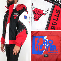 90s Vtg Chicago Bulls Pro Player by Daniel Young Jacket with Adjustable Hood - Medium