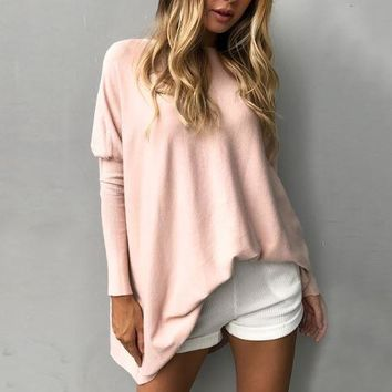 Pink Long-Sleeved Round Neck Loose Shirt