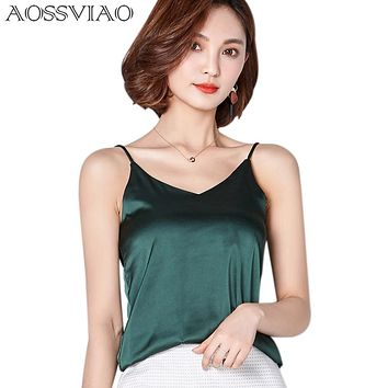 New Summer Autumn style Imitation Silk Women Blouse Shirt Sexy White Tops Women Blouses Party Girls Blusas Shirts 2018 Fashion