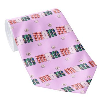 Patchwork 'MOM' on Blank (Add Any Color) Tie