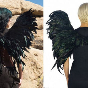 Iridescent Black Feather Wings ~ Stunning for Costume, Events, Fantasy, Photography Prop!  Crafted of Dyed Rooster Coque Tails