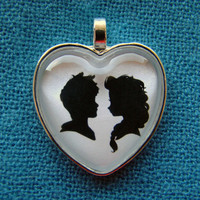 Jack Frost and Elsa Heart Silhouette Cameo Pendant Necklace