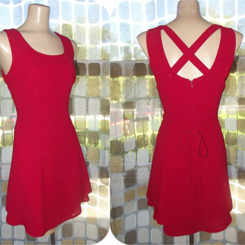 Vintage 80s RED Criss Cross Open Back Flirty Mini Dress 8/ Medium Full Sweep Party Dress