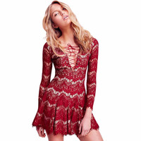 Embroider Lace Long Sleeve Dress