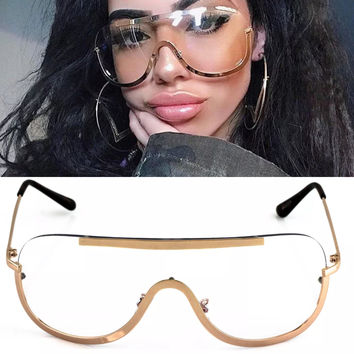 Rose Gold Frame Shield Clear Lens Sunglasses