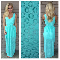 Mint Diamond Lace Maxi Dress
